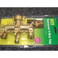 Universal 3 Way Brass Tap 3/4' Adapter