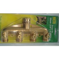 4 Way Brass Tap 3/4' Adapter
